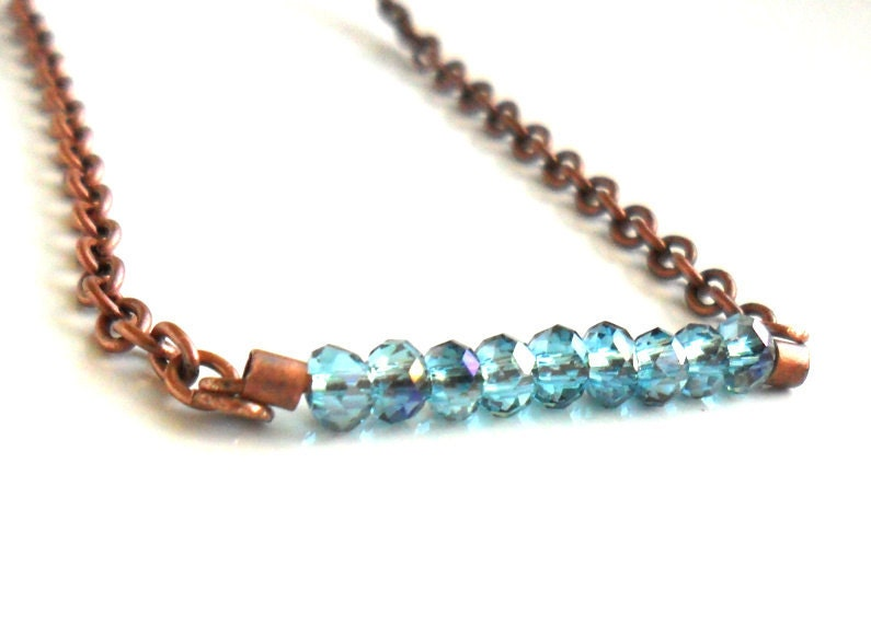 Delicate bar necklace Tiny blue faceted crystal  bar , Copper chain  jewelry for everyday, boho, minimalist - Daniblu
