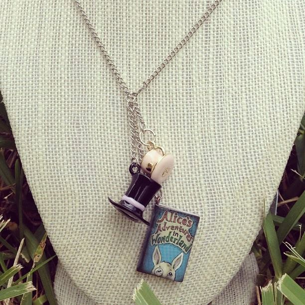 Alice's Adventures in Wonderland inspired charm necklace