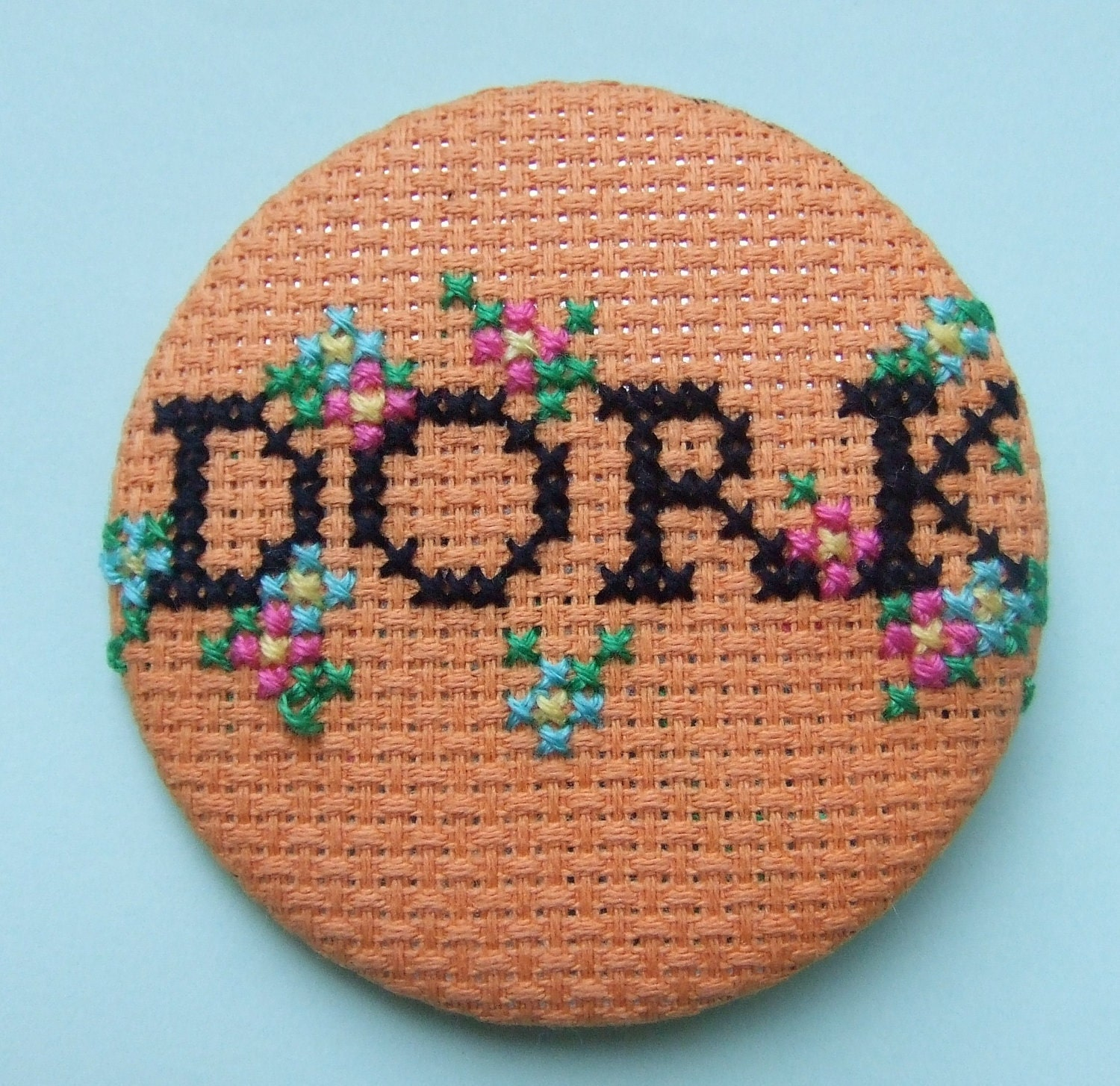 Cross-stitch Oversized Dork Button Badge with Chintz Floral Detail