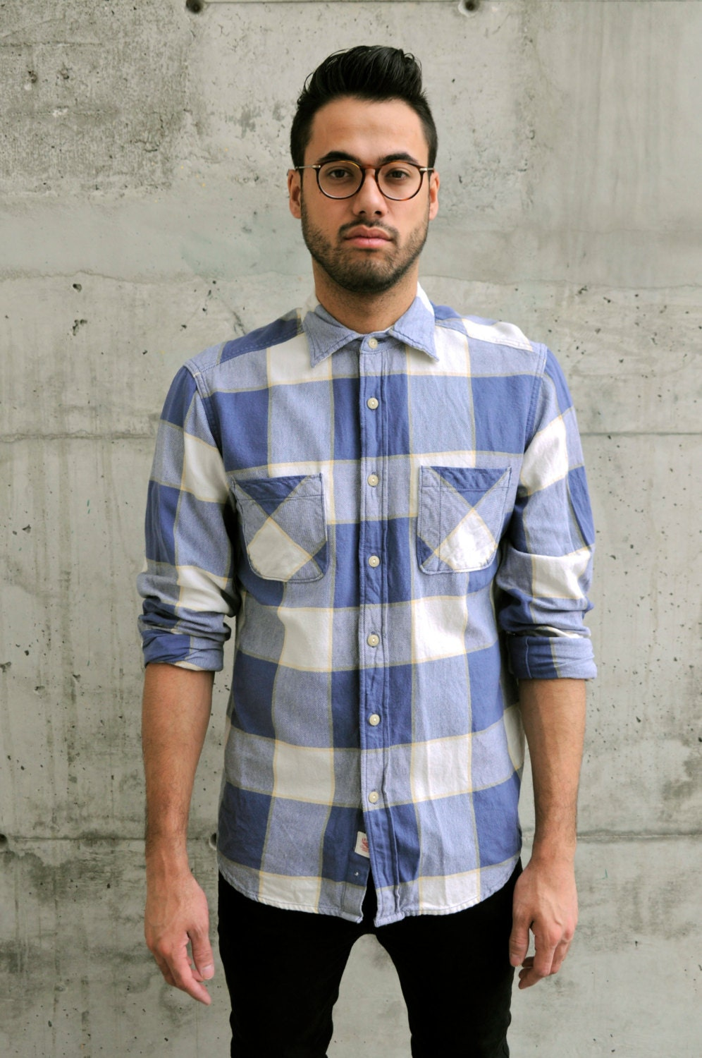Blue plaid button up hipster flannel shirt by for Button up flannel shirts