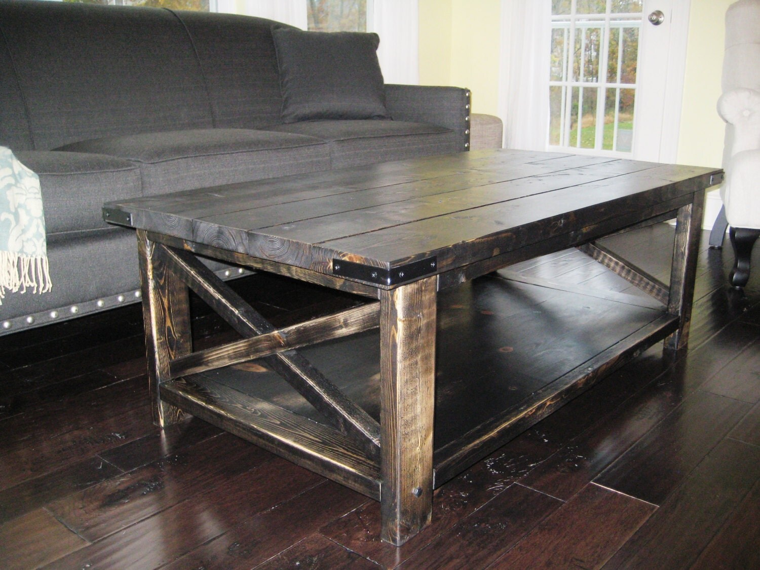 Rustic x distressed handmade coffee table by madeinaldie on etsy Rustic black coffee table