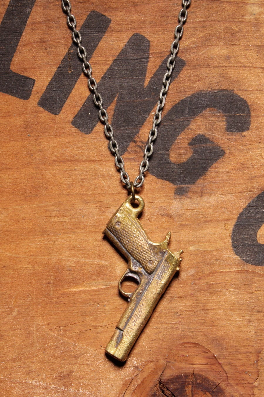 Items similar to Mens Jewelry: Brass 45 Gun necklace ...