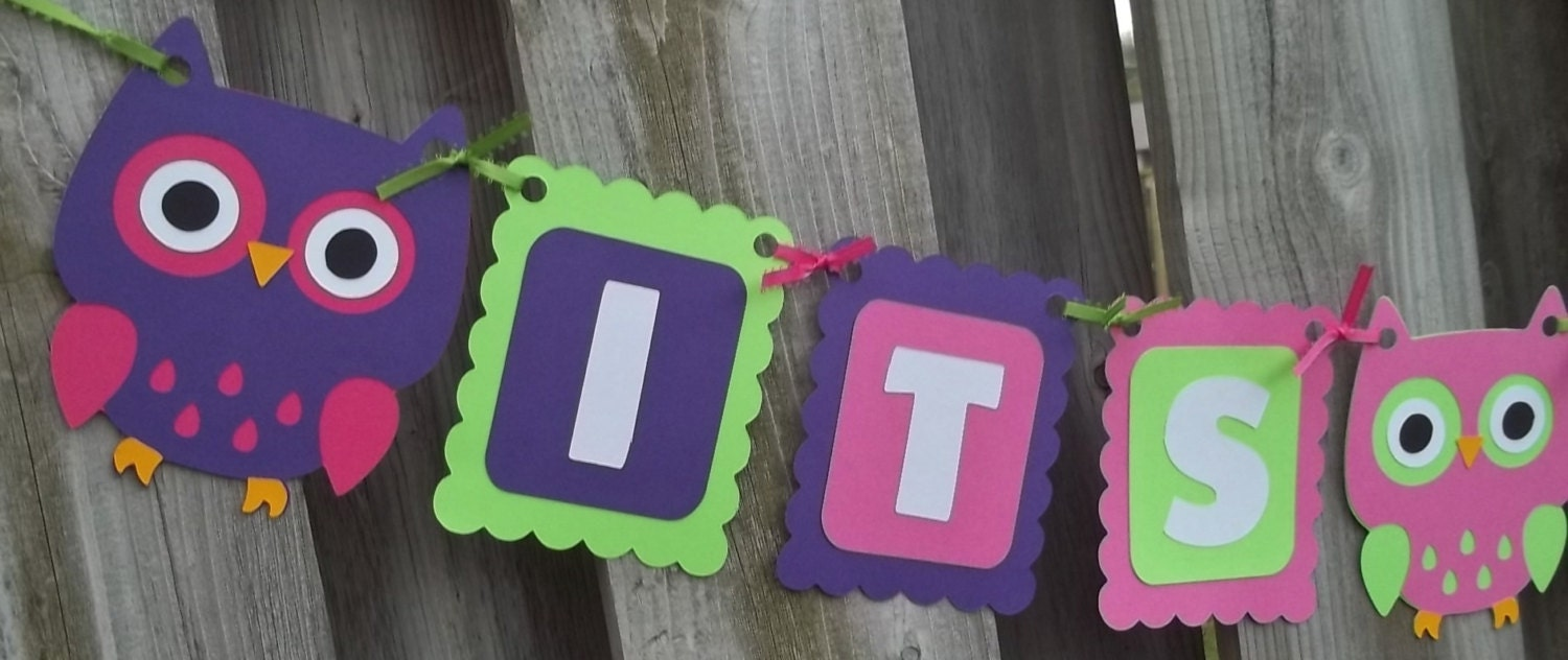 owls purple lime green hot pink baby shower decorations owl