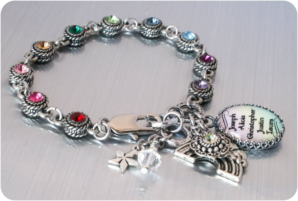 Childrens Names Charm Bracelet Rainbow Charm by