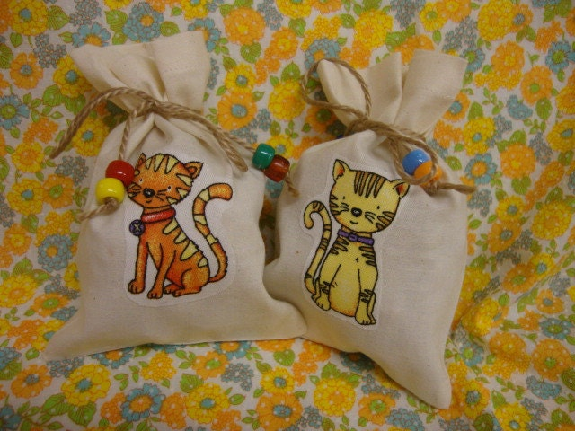 Set of 6 Assorted Kitty Cat Birthday Party Favor Bags