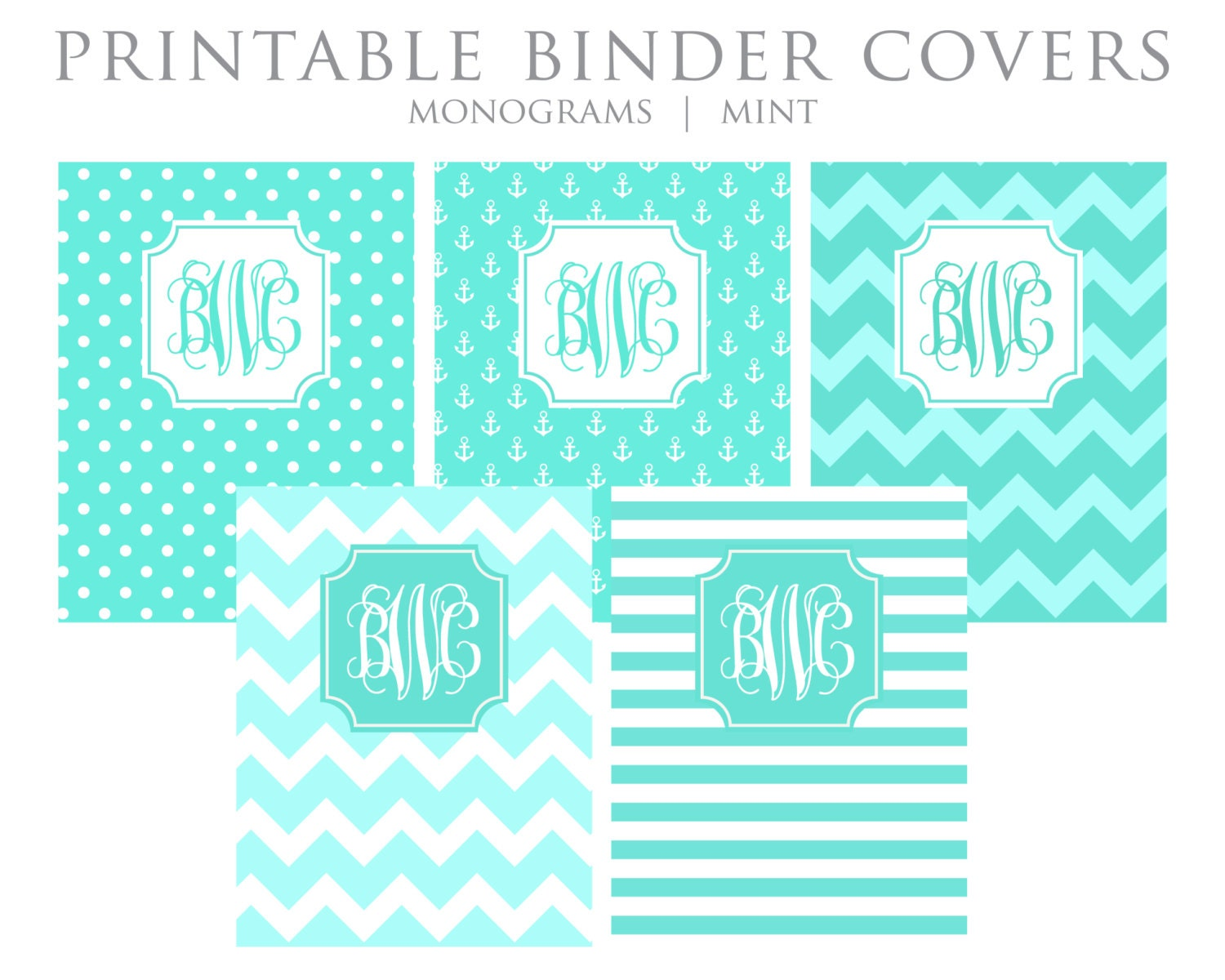 This is a picture of Universal Printable Monogram Binder Cover