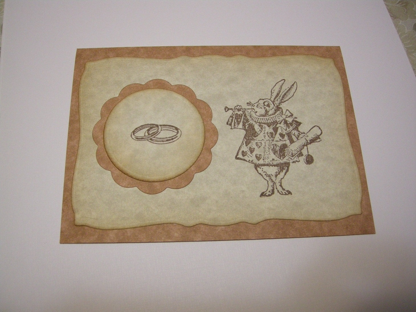 Alice in Wonderland Wedding Invitation Ancient Vintage Style White