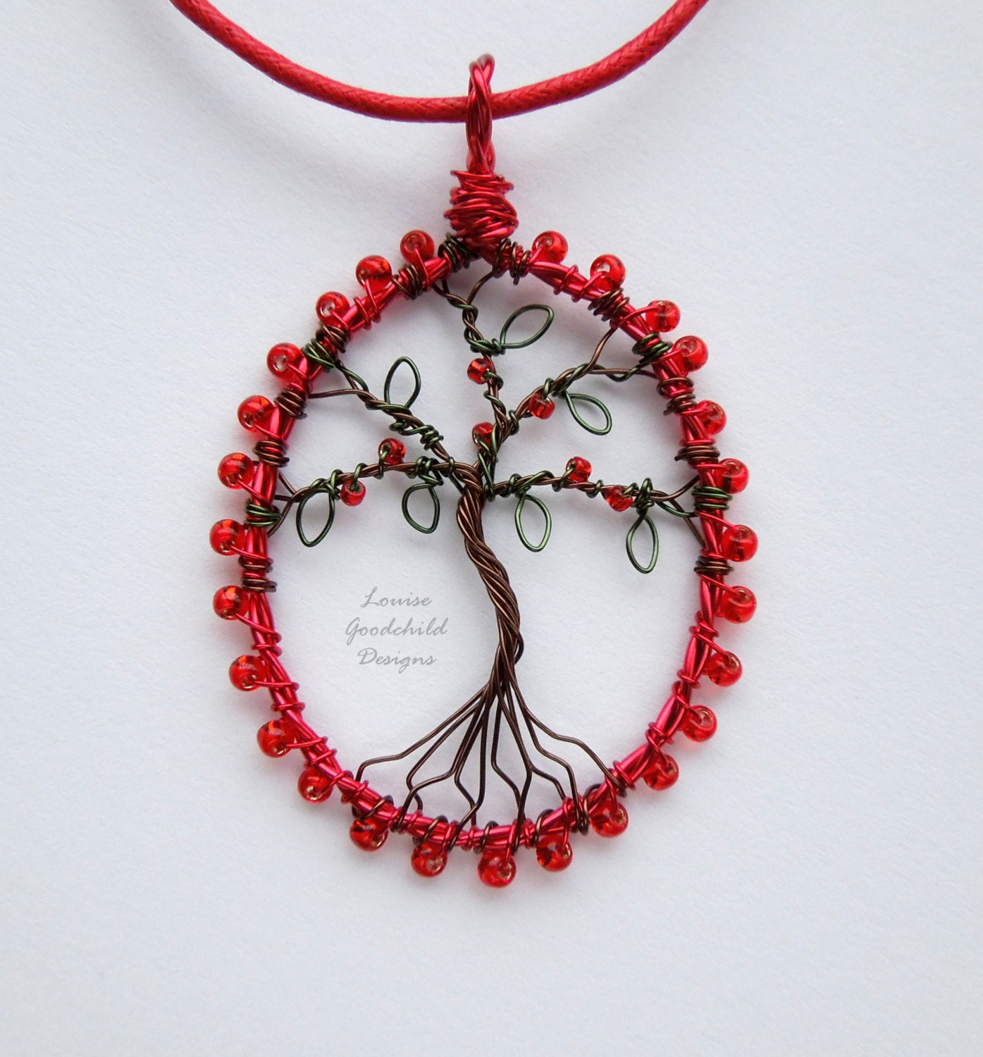 Ruby red tree pendant wire tree pendant tree of life pendant red tree necklace