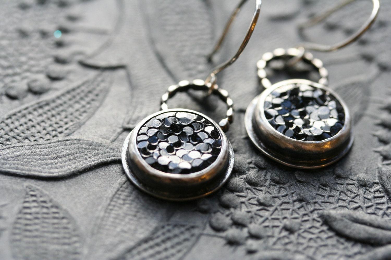 Starry Night vintage noir glass button earrings sterling silver - idlehandsdesigns