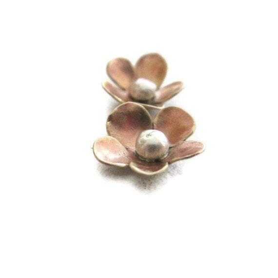 Gold Flower  Studs  Brass Sterling Blossom  Earrings - sheriberyl