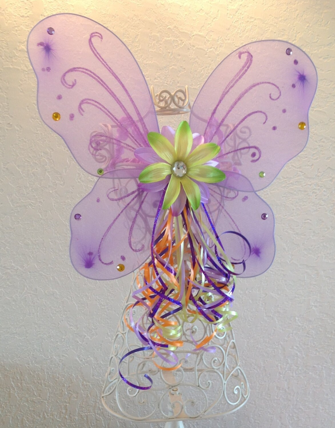 Halloween Fairy Princess Purple wings with Green Ballet Tutu, Wings and Fairy Princess Wand Set