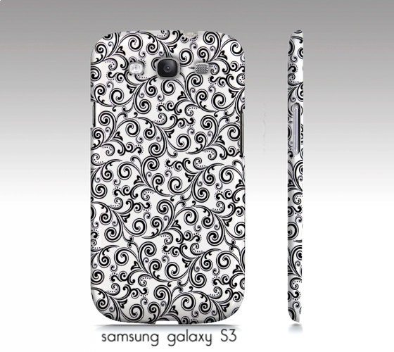"samsung galaxy S3,S4, iphone4, 4s, 5 phone case, ipad hard case ""black and white swirls"" photograph, damask"