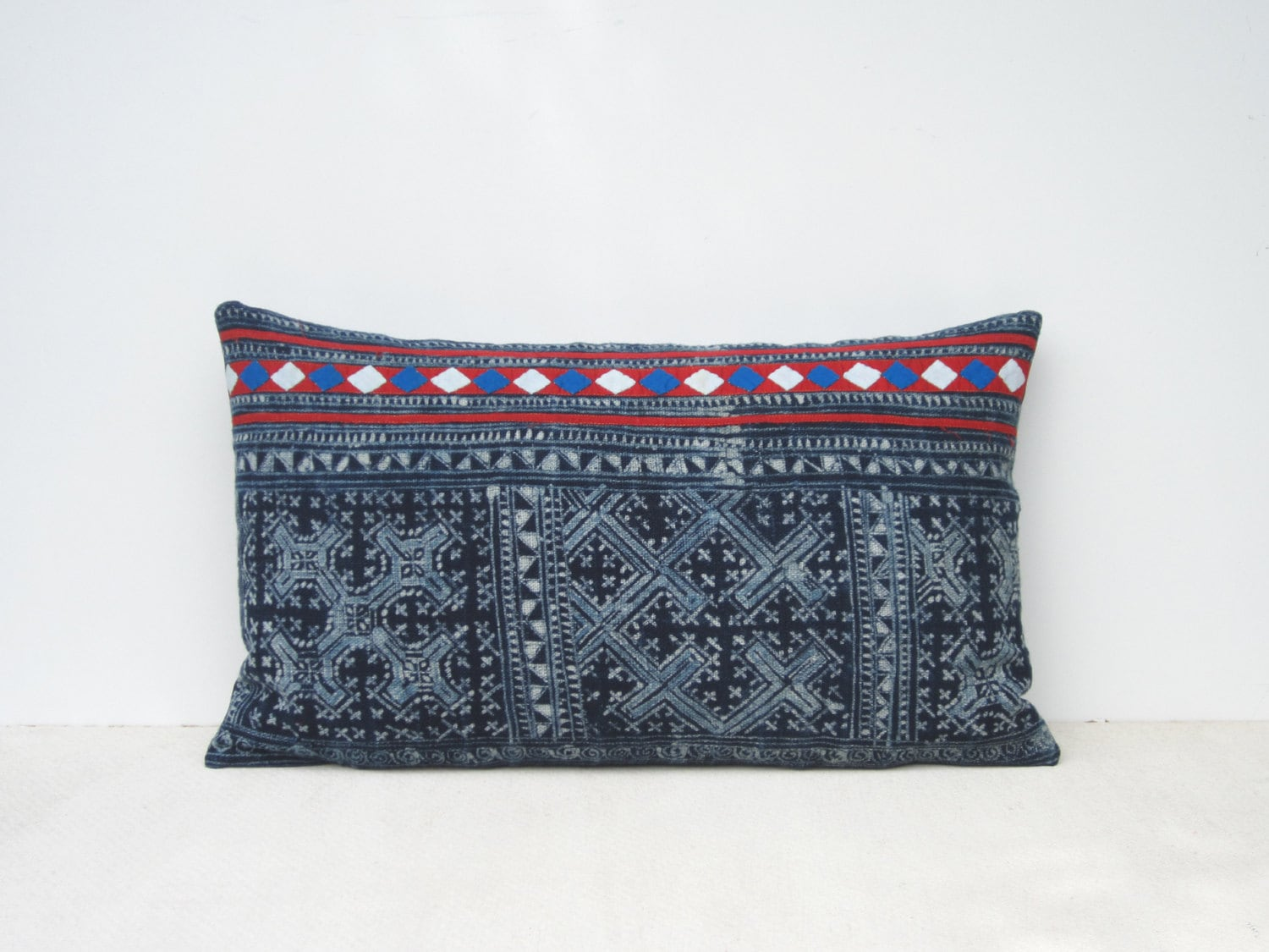 Vintage indigo blue batik and embroidered Hmong textile cushion cover 12x20 - frompastopresent