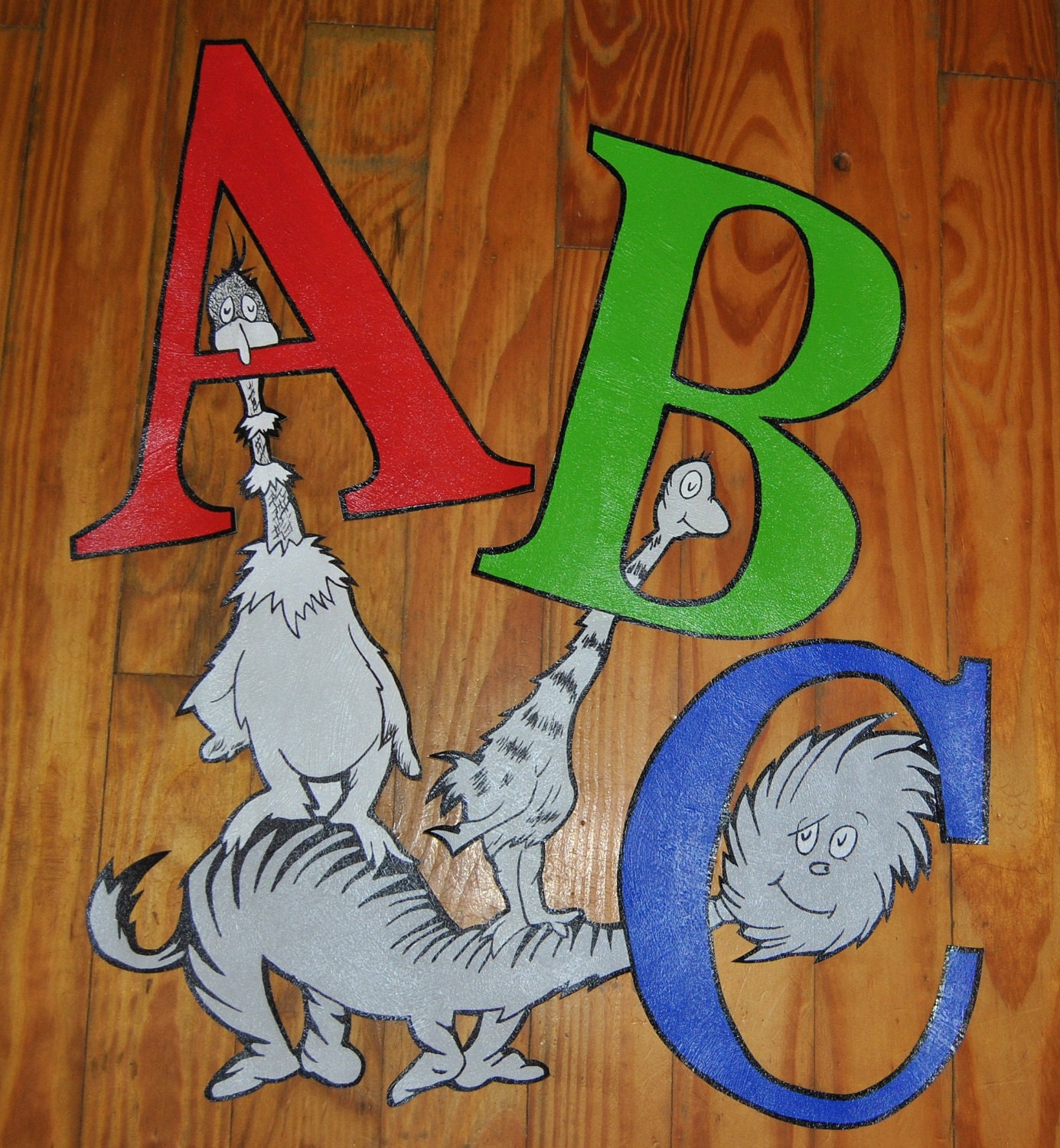 Dr seuss abc wallpaper mural wall decor by mamashpey1 on etsy for Dr seuss wall mural