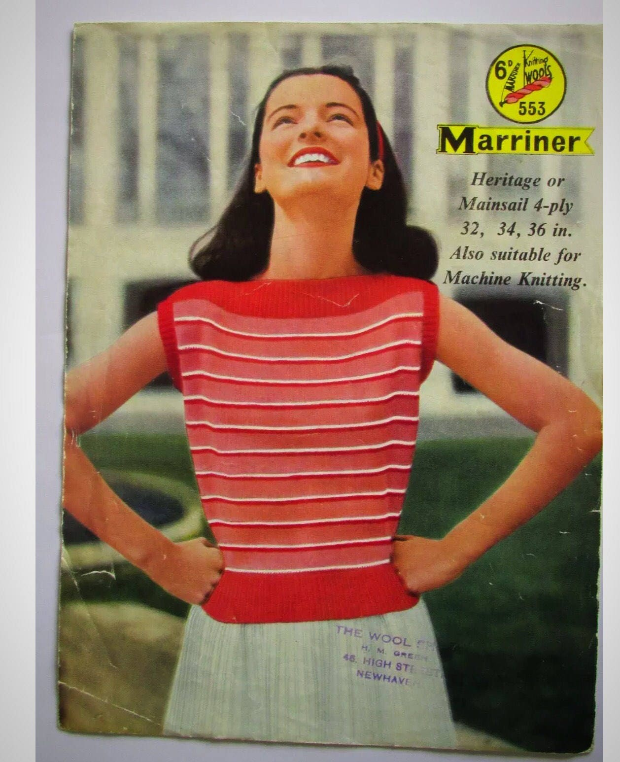 Original Marriner 1950s Retro Striped Sweater Knitting Pattern  Hand or Machine Knitting