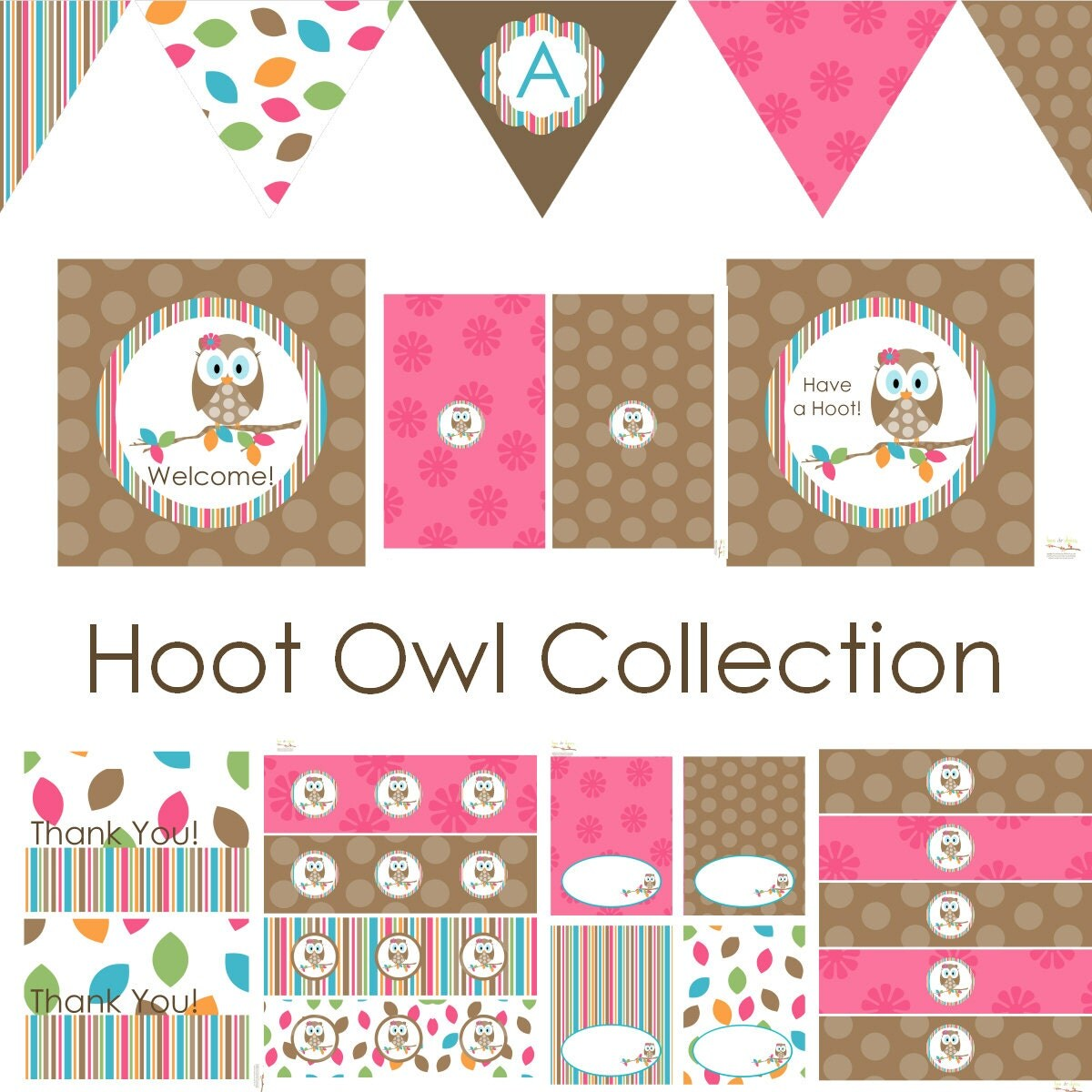 Hoot owl decorations for birthday party or baby by beeanddaisy for Baby owl decoration