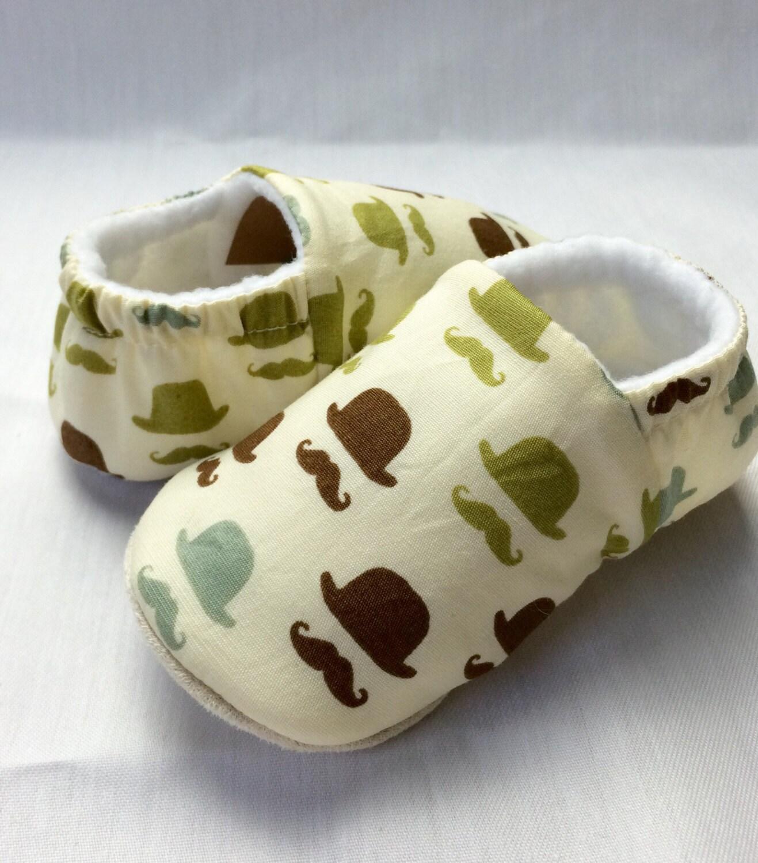 Bowler hat  moustache printsoft sole pre walker baby shoe