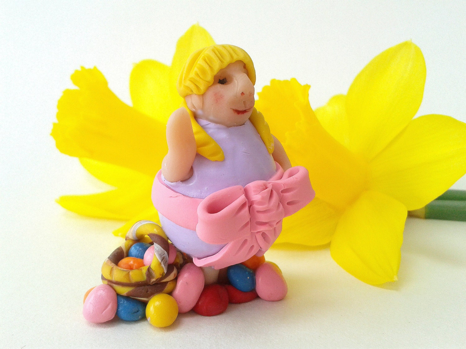 Easter Polymer Clay Figurine Girl in Easter Egg Costume Easter Ornament Diorama Figure Easter Cake Topper Decoration Gift for Easter
