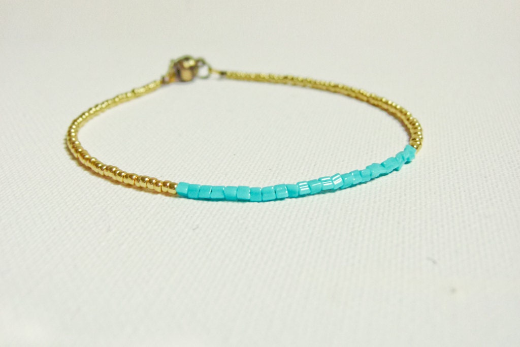 simple turquoise gold anklet bracelet modern by callofearth
