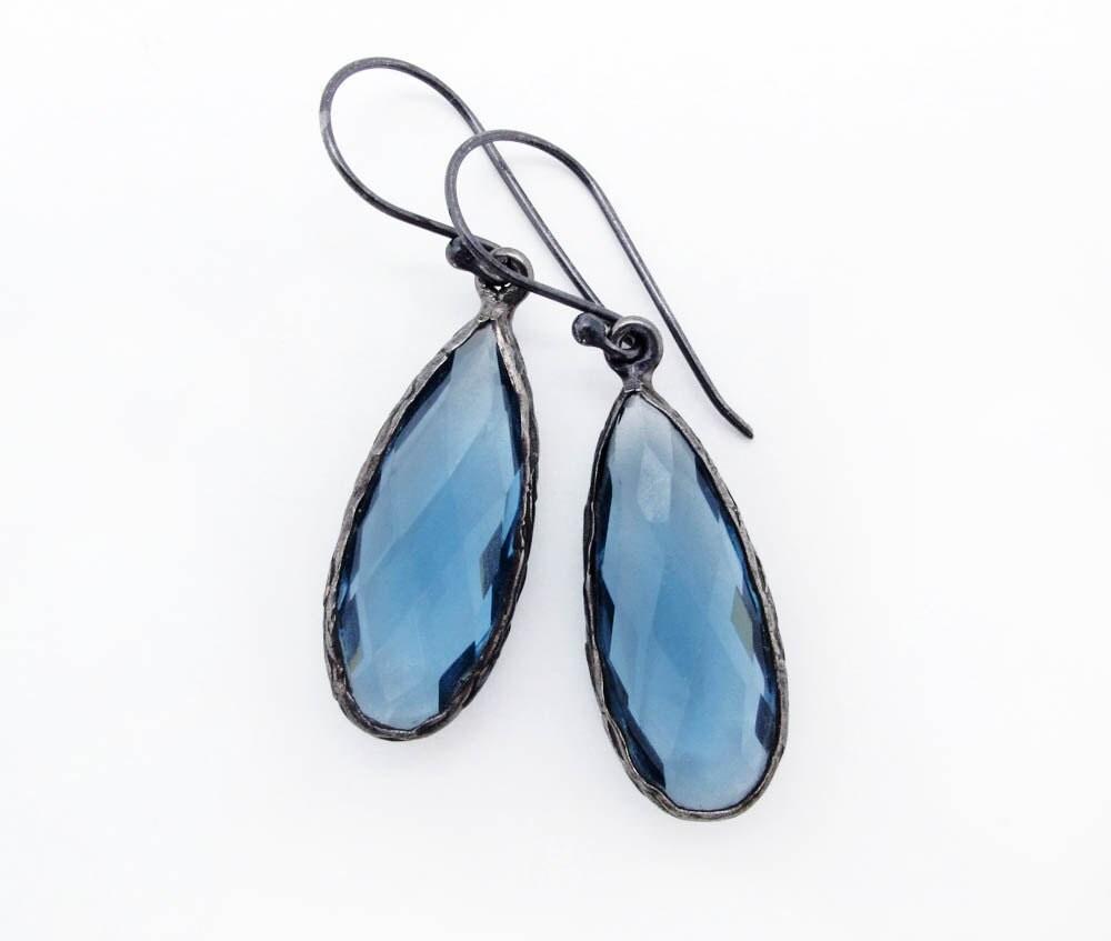 blue dangle earrings briolette earrings drop earrings gemstone earrings September birthstone indigo blue dangle earrings - SharonClancyDesigns