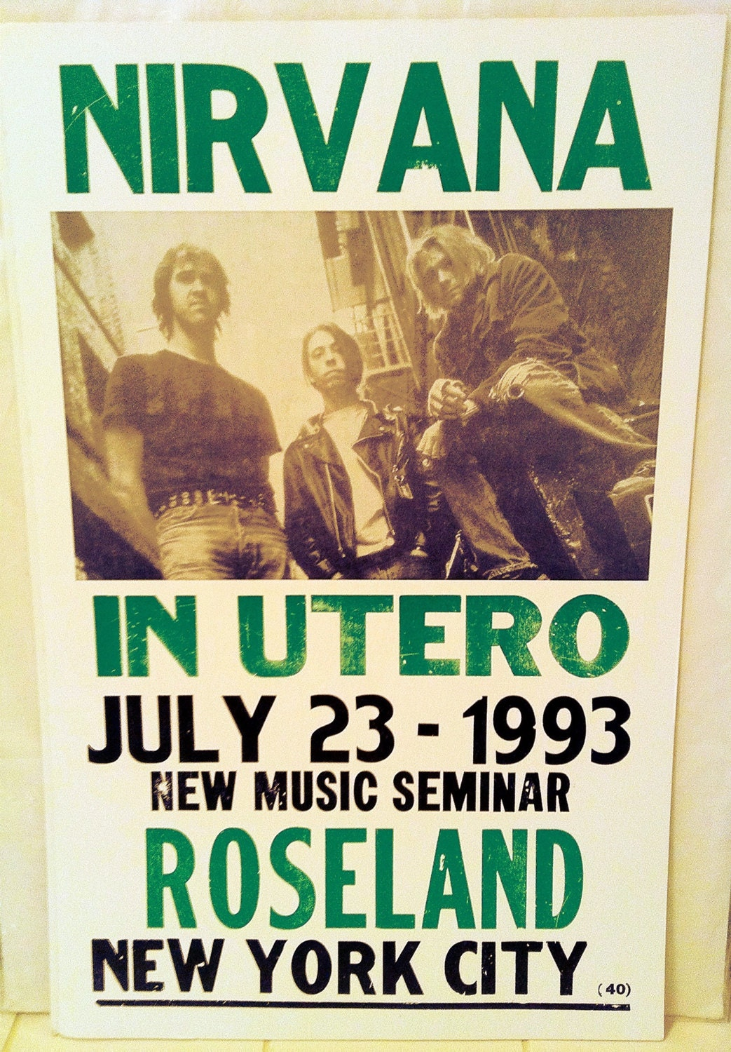 Mint Condition Nirvana Concert Poster On Greaseless Cardboard Surface