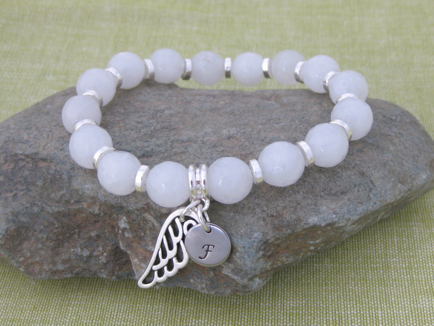 Personalised White Quartz  Silver Plated Bead Stretch Bracelet Hand Stamped and Initial Angel Wing Gift