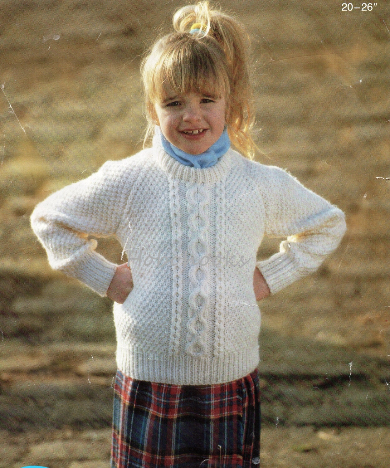 vintage baby childs childrens aran sweater knitting pattern pdf cable jumper crew neck 2026 inch Aran worsted 10ply PDF instant download