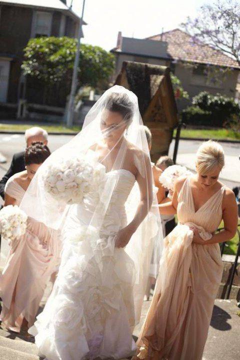 Long veil bridal Ivory diamond white fingertip chapel cathedral  wedding long veil blusher, 2 tier drop veil