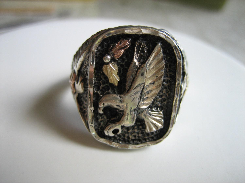 Men's EAGLE HEART Vintage 12k & .925 Sterling Silver BIKER Ring