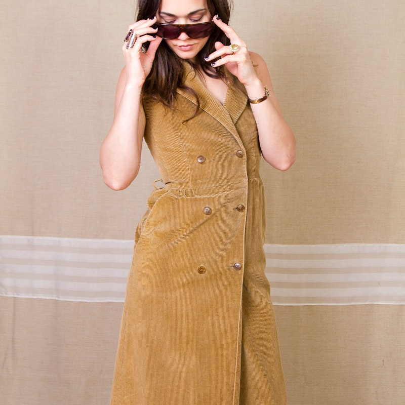 Brown Corduroy // Double Breasted // Sleevless Dress - PalaceVintage