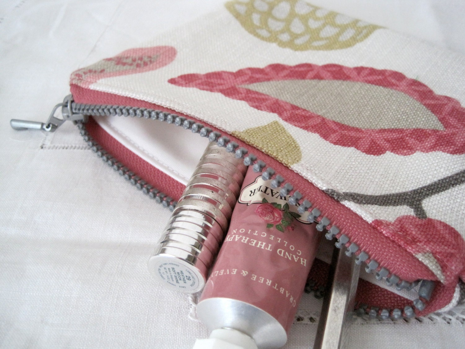 SALE  Recycled Linen Waterproof Pouch