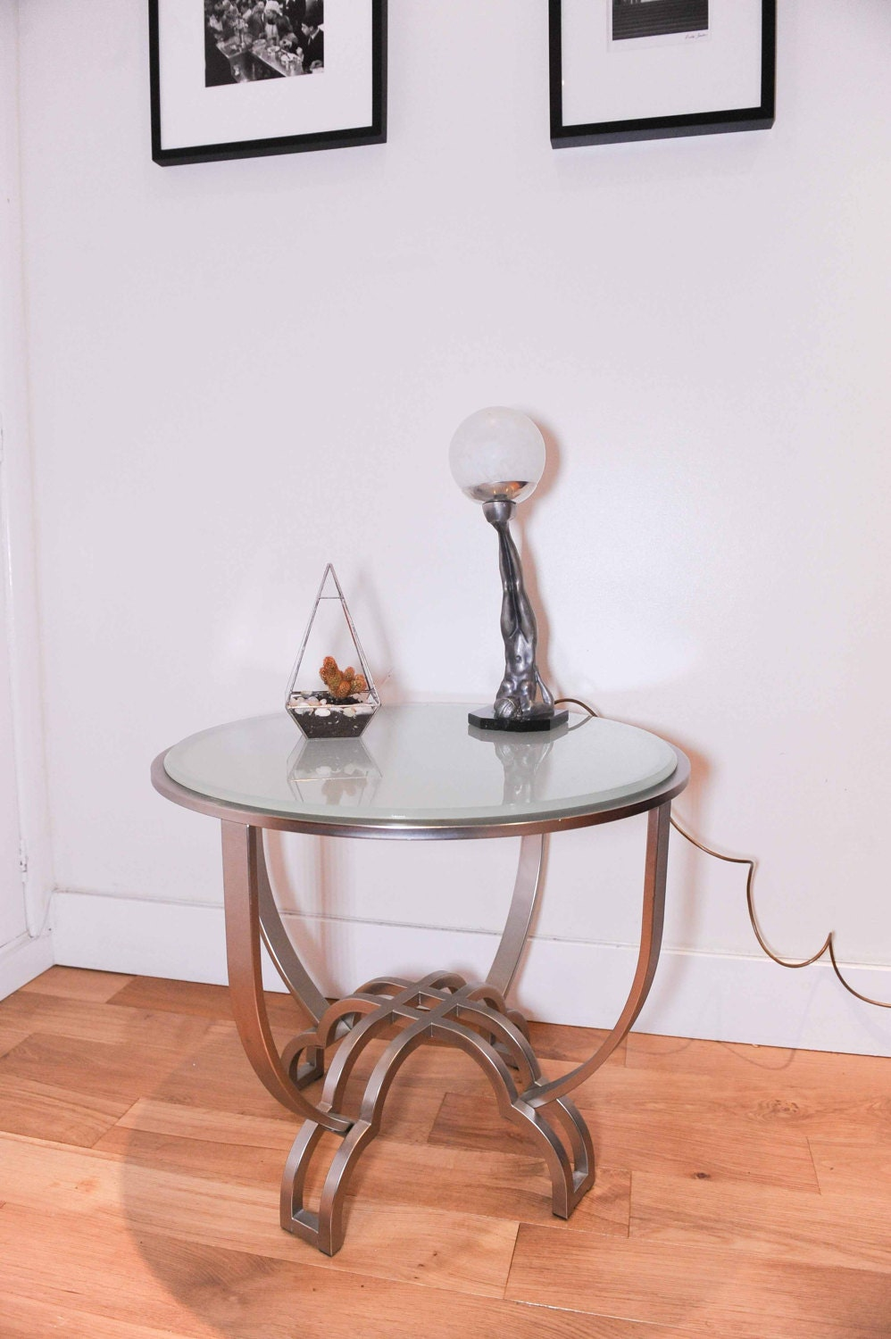 Contemporary Art Deco style Circular Statement table made of Chrome  Bevelled edge matte glass (Shipping is extra)