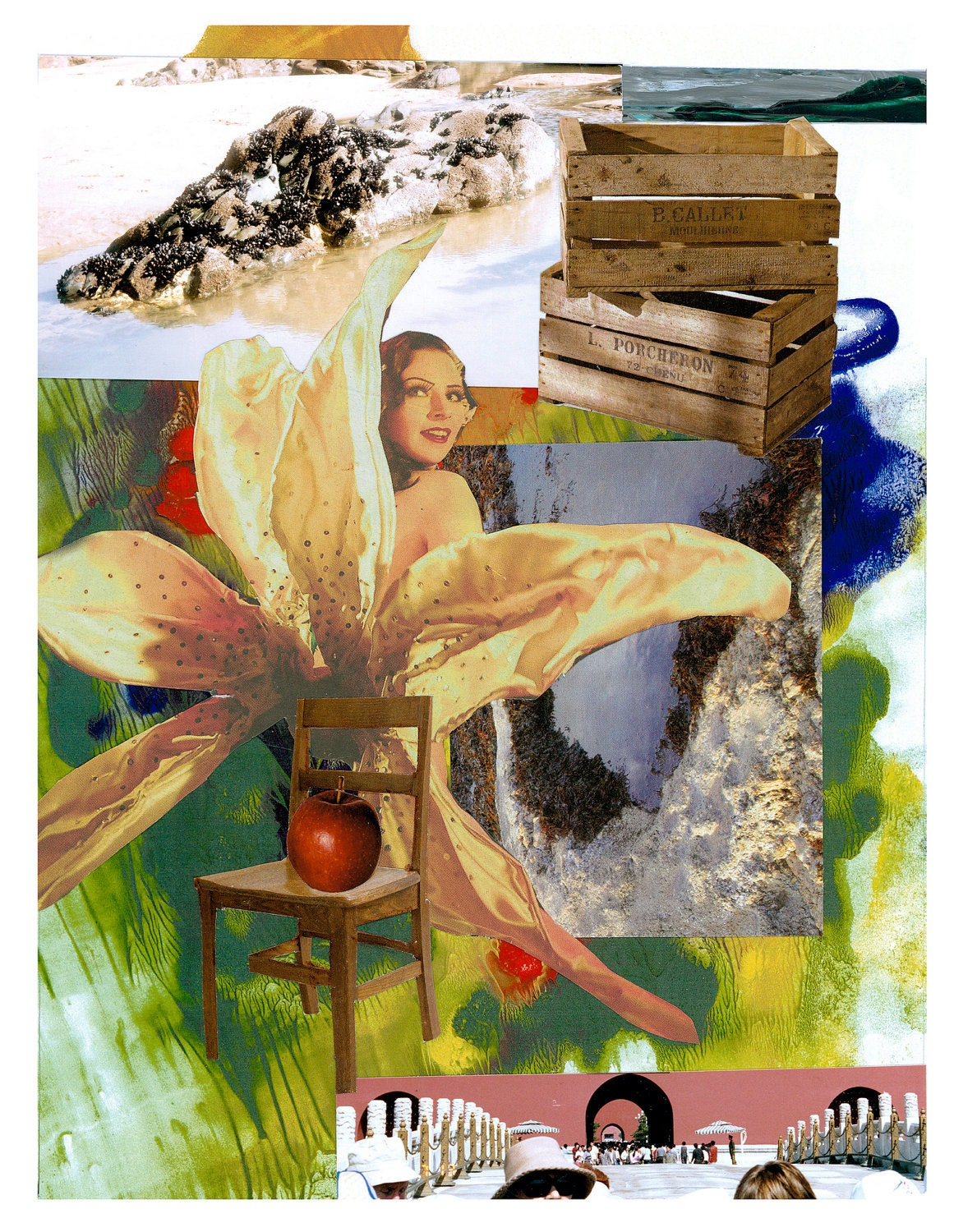 Golden Lady Lily loves Croc Rock. Collage - Limited edition print one of only 25. Free shipping - artsdesireable