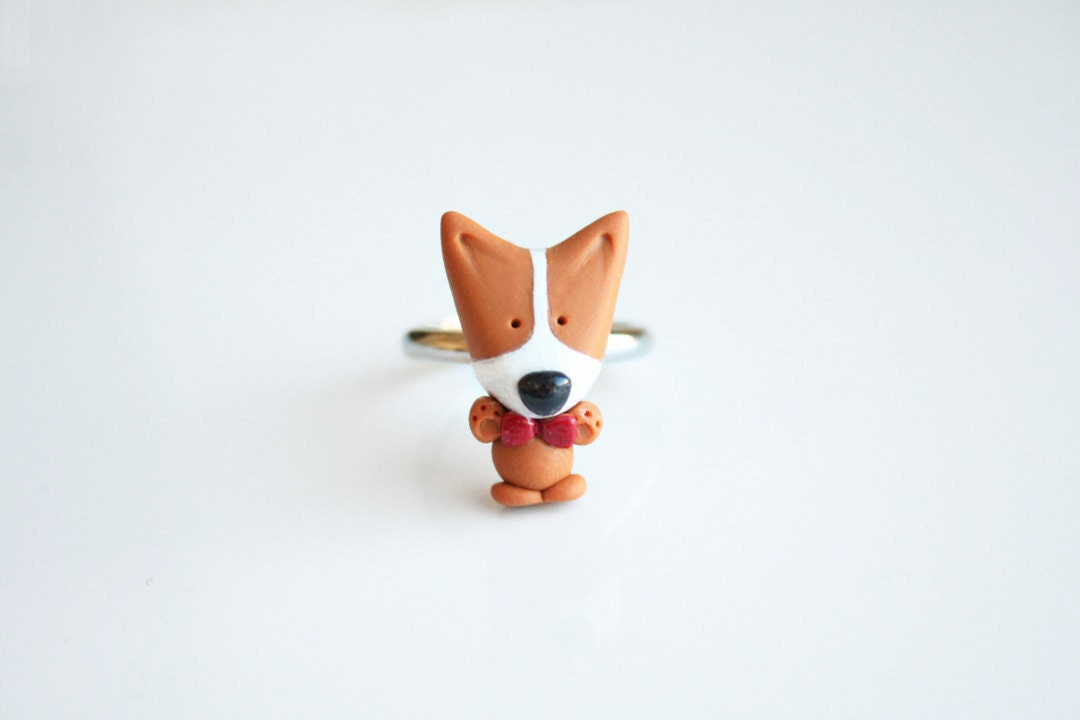 Mocha the Pembroke Welsh Corgi Bow tie ring