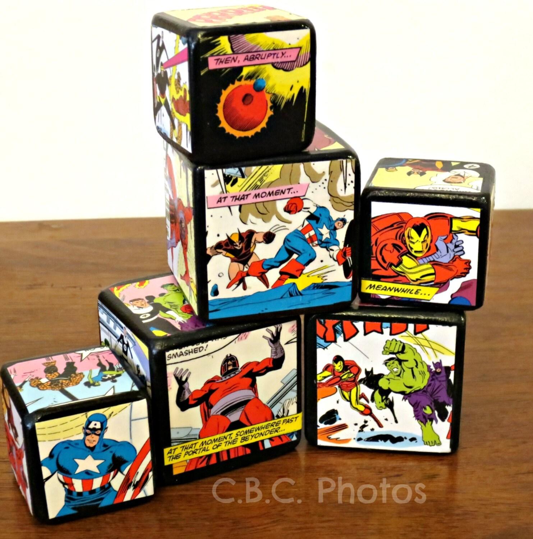 marvel superhero wood block home decor kids by