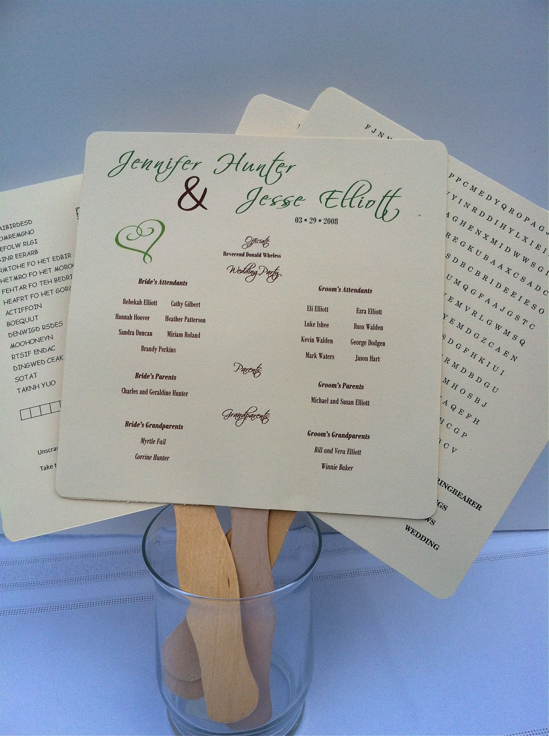 items similar to wedding program fan template with customized fill in