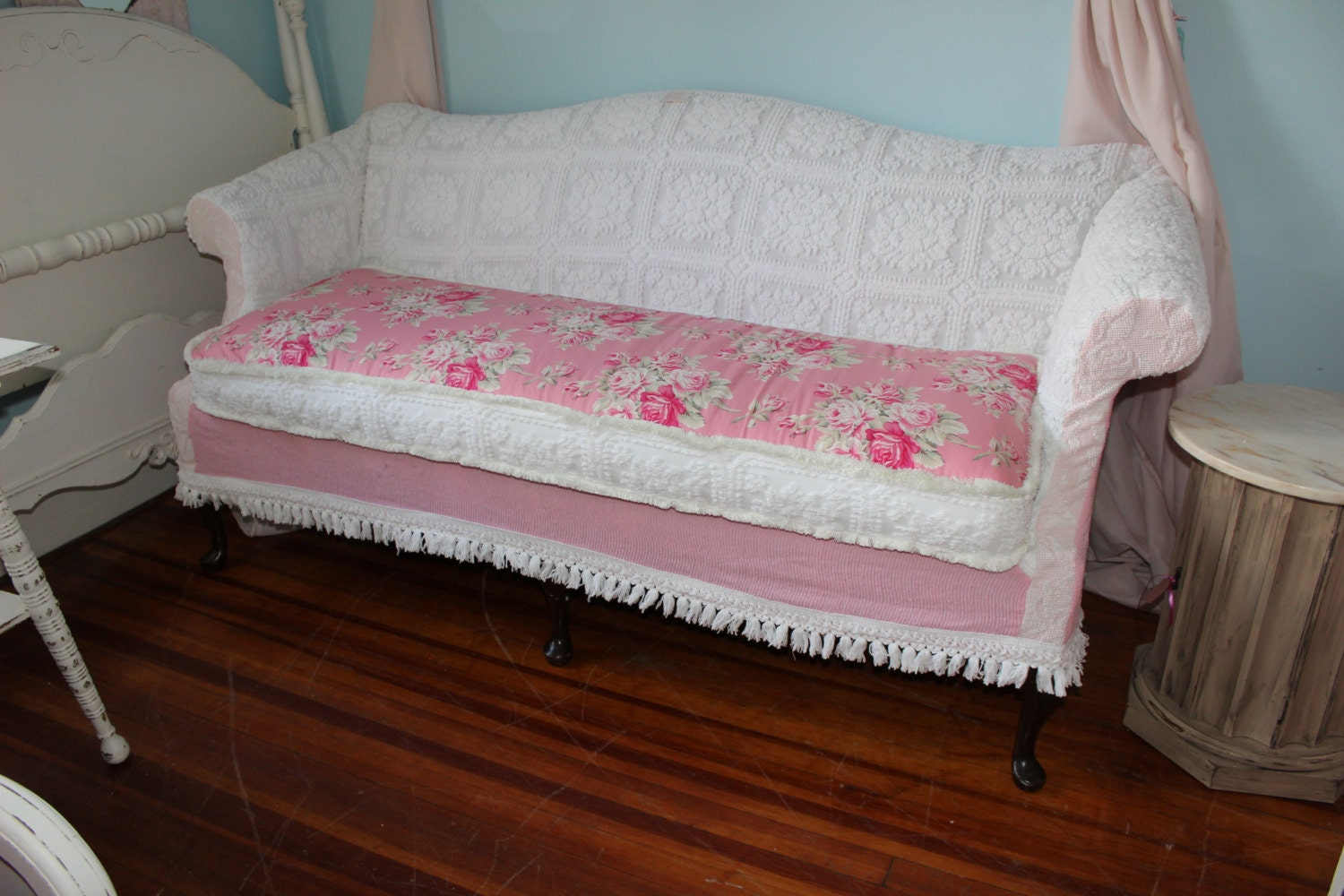 shabby chic sofa couch slipcover chenille by. Black Bedroom Furniture Sets. Home Design Ideas