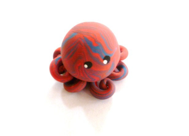 Little Octopus Mini Marble Friend in Coral and Blue Swirl - mulberrymoose