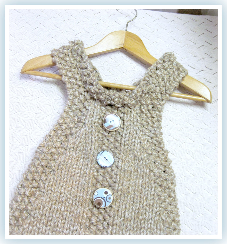 Bulky Yarn Knitting Patterns : Childs Jumper Dress Knitting Pattern in Bulky Yarn by LaurelArts