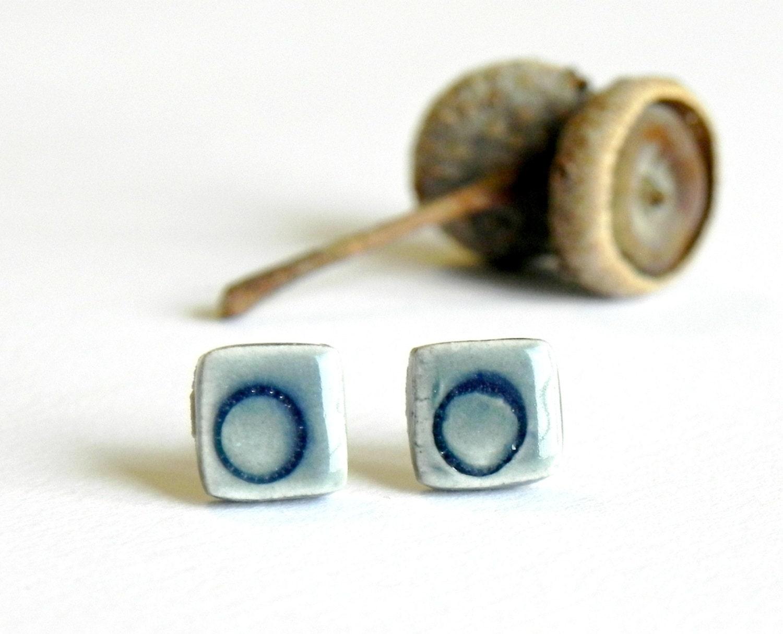 Blue Ceramic Post Earrings Modern Geometric Stud Earrings Hypoallergenic Pottery Jewelry - LemoneRouge