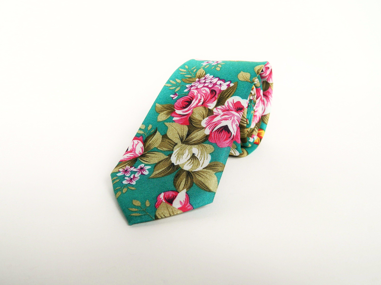 Green floral tie wedding tie gift for men skinny green floral tie groomsmen uk