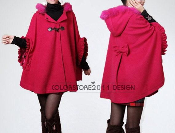 mantello rosso rosa lana Cashmere Cape cappotto cappotto doppio petto pulsante cappotto mantello cappuccio felpa con cappuccio cape Cape dy31 M, L