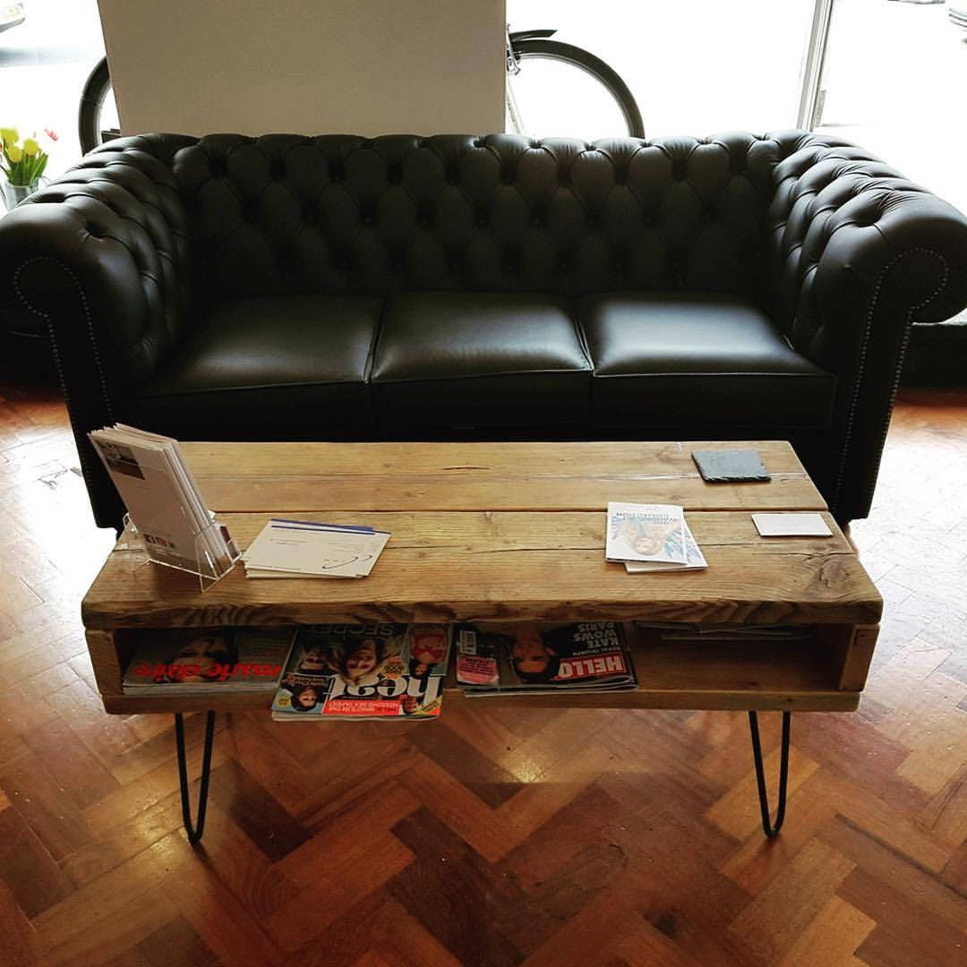 Handmade TV Stand  Coffee Table Made from Reclaimed Scaffolding Boards and Metal Hairpin Legs