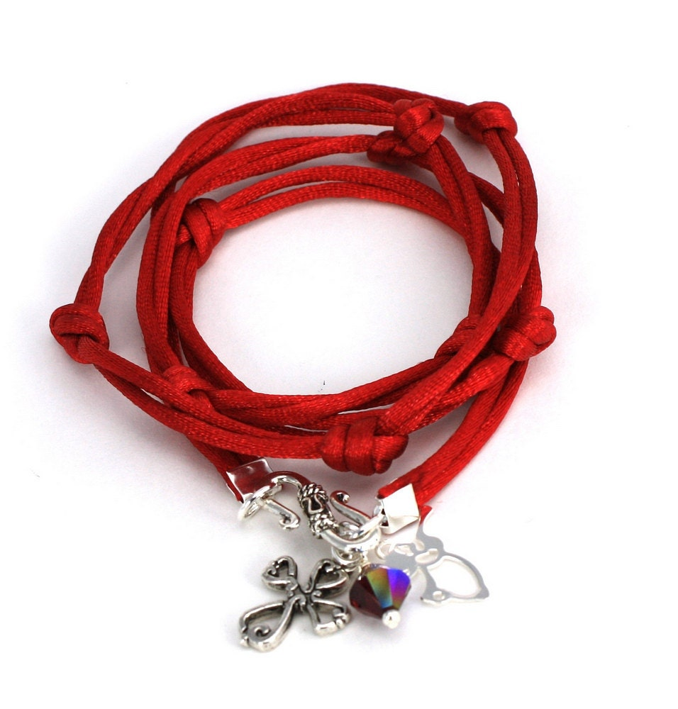 Satin Cord Wrap - Carmine Red Satin with Victorian Cross, Angel, and Garnet Swarovski Crystal - anjalicreations