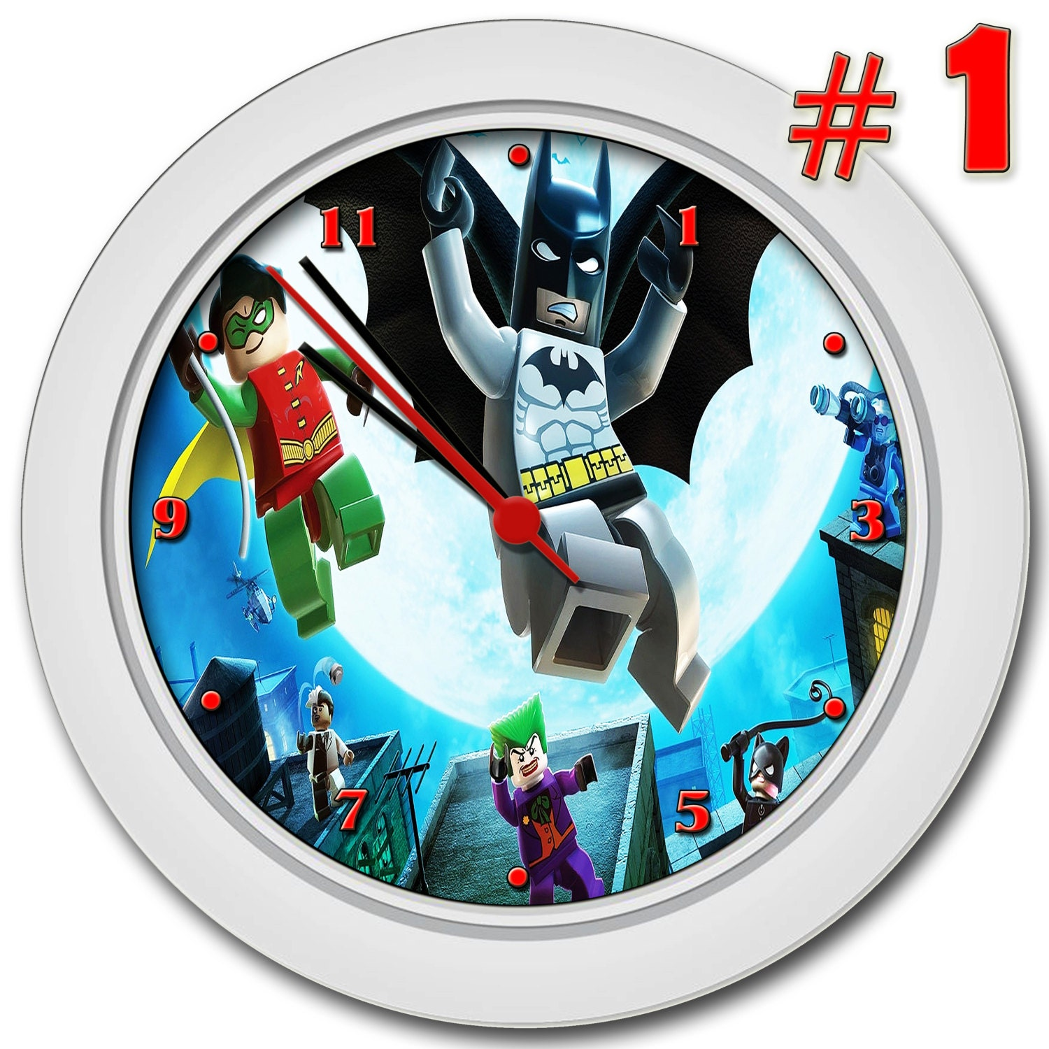 LEGO BATMAN STYLE #1, Free Personal ized Collection, Gift, Wall Clock ...