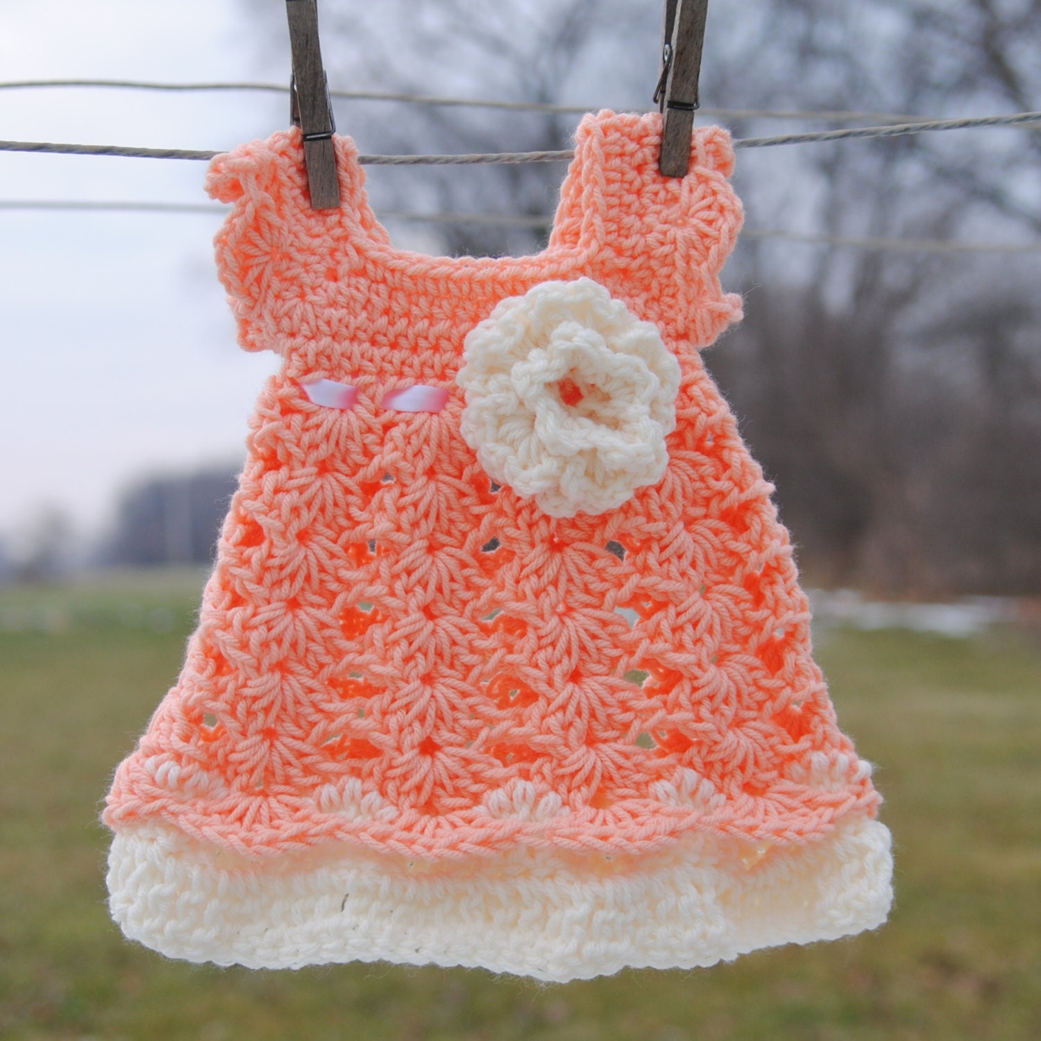 Peach Baby Dress Infant Girl Outfit Newborn Cream by Kimberose