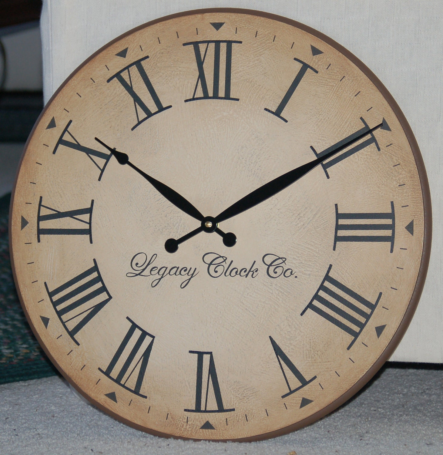 18 inch large wall clock antique rustic tuscan by bigclockshop