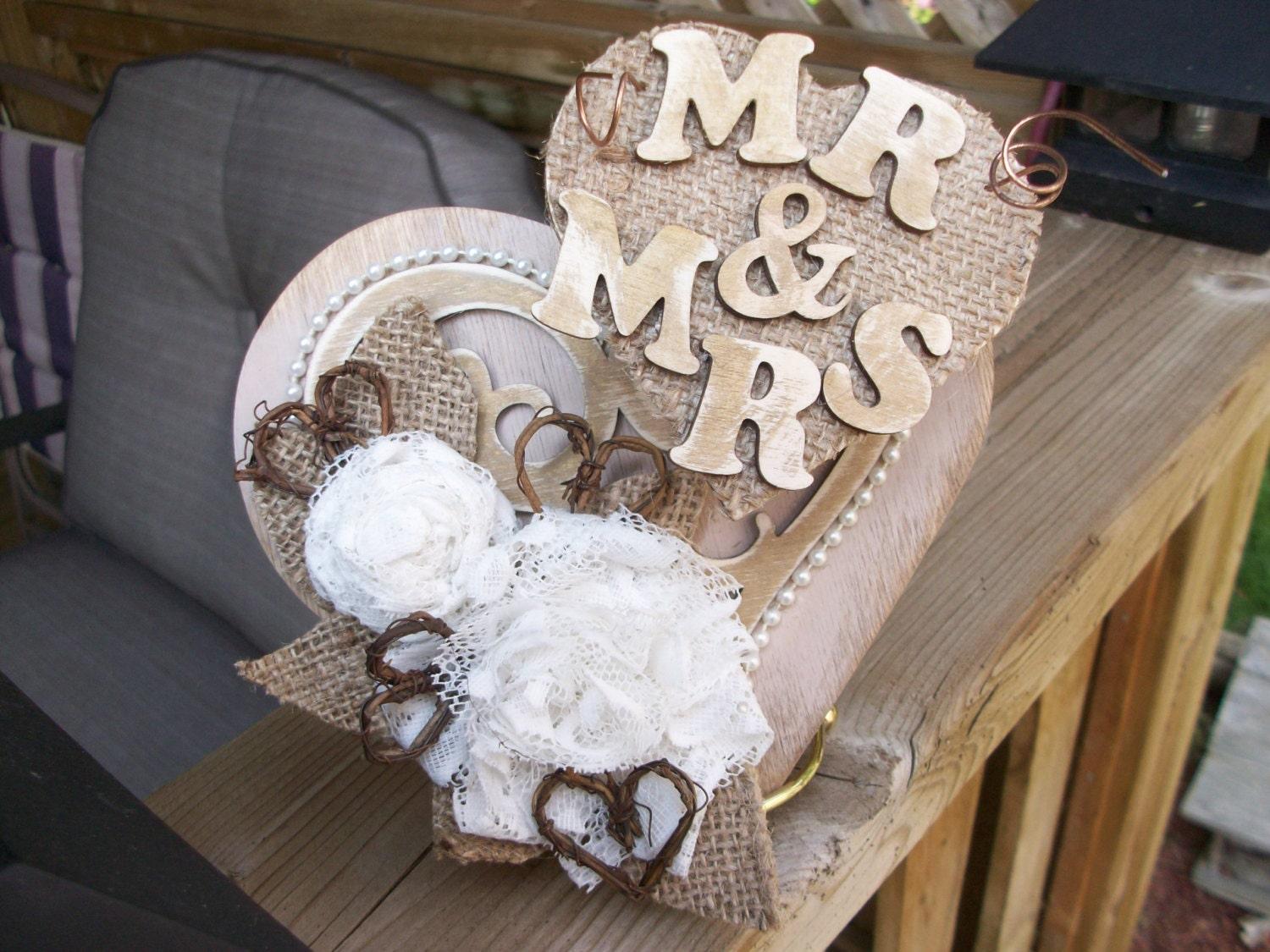 Wedding Cake Topper Rustic Burlap and Lace by