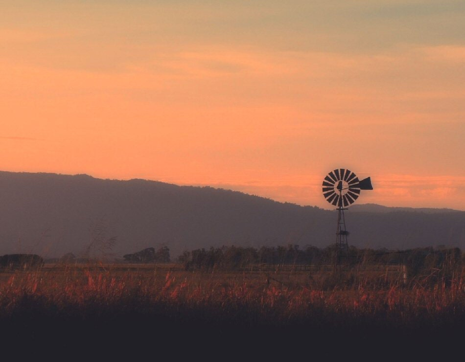 Windmill photo, landscape photography, Nature, Sunset photo, Indian Summer, wall decor, viviarte - ViviArte