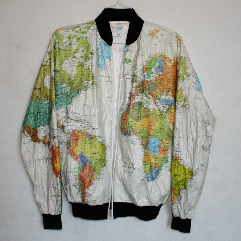 Wearin 39 The World Map Jacket by estateliving on Etsy